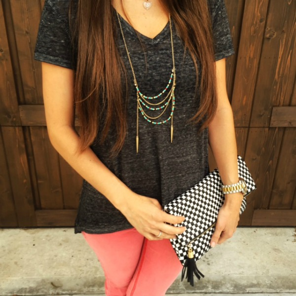 H&M vneck__Chloe Dao Necklace_Charming Charlie Clutch