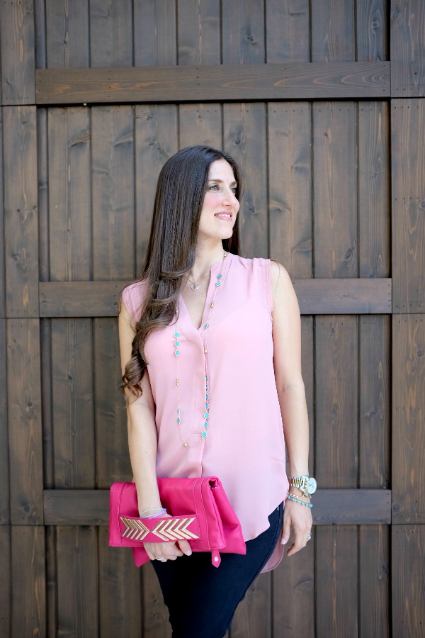 H&M blush colored tunic_CC Necklace and clutch