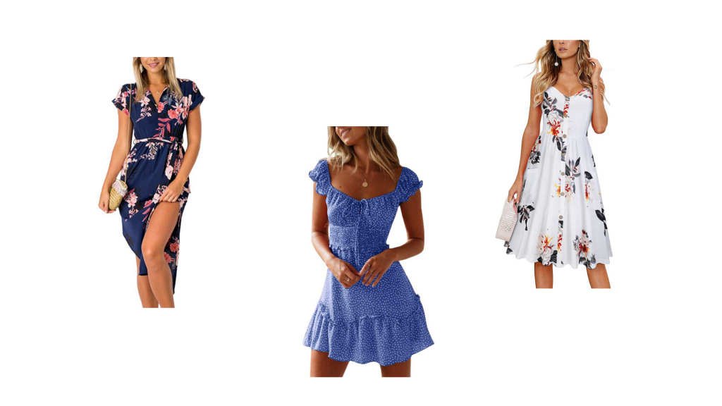 stock images of women wearing amazon floral dresses
