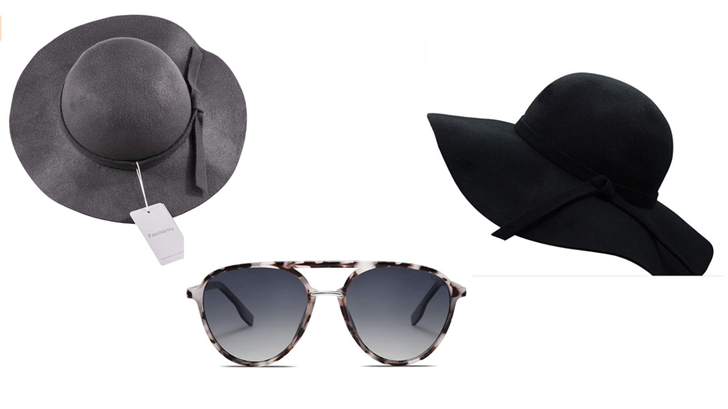 stock images of amazon fashion finds of a grey hat, black hat and oversized sunglasses