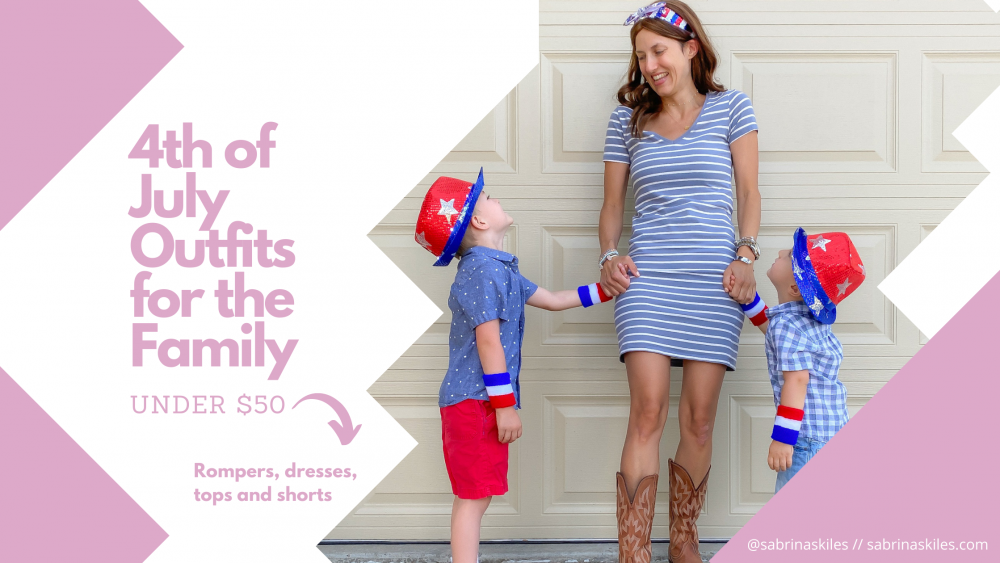 woman in light blue striped dress holding hands and smiling at two boys in 4th of july outfits for the blog post 4th of july outfits for the family under $50